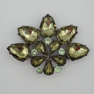 Vintage Green Faceted Glass & Rhinestone Brooch